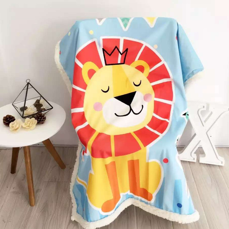Cartoon Printed Blanket Double Layer Flannel Fleece Fabric Blanket Anime One Piece Sofa Bed Throw Blanket Kid Warm Blanket