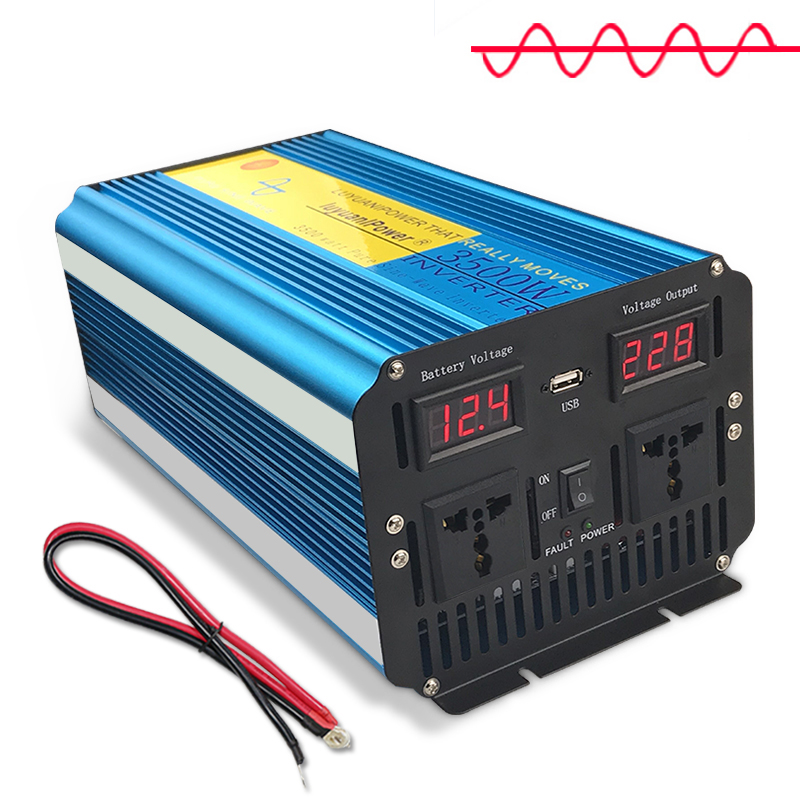 7000W Pure Sine Wave Power Inverter DC 12V/24V TO AC 220V/230V/240V With Dual LED Display 3.1A USB