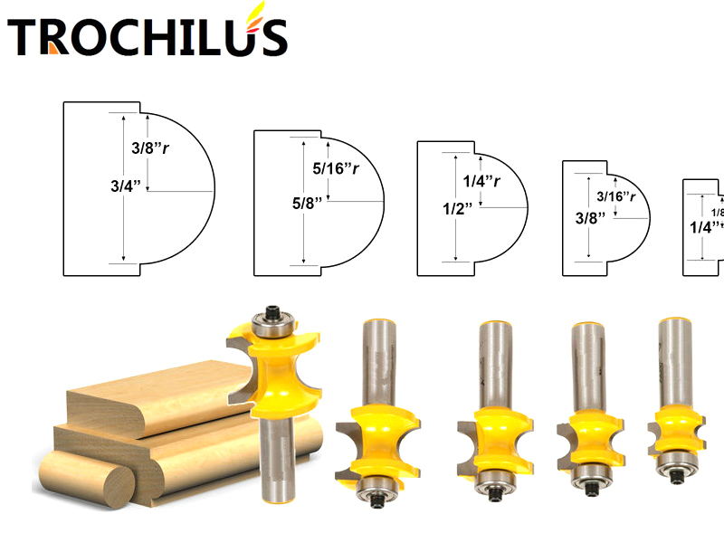New typs 1/2 Shank 5PCS Bullnose Router Bit Set Carbide wood milling cutter router cnc mill/end mill set Woodworking tools high grade carbide alloy 1 2 shank 2 1 4 dia bottom cleaning router bit woodworking milling cutter for mdf wood 55mm mayitr