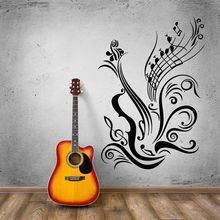 Guitar Note Wall Decal Music Style Vinyl Sticker Studio Decoration New Design Notes Poster AY1020
