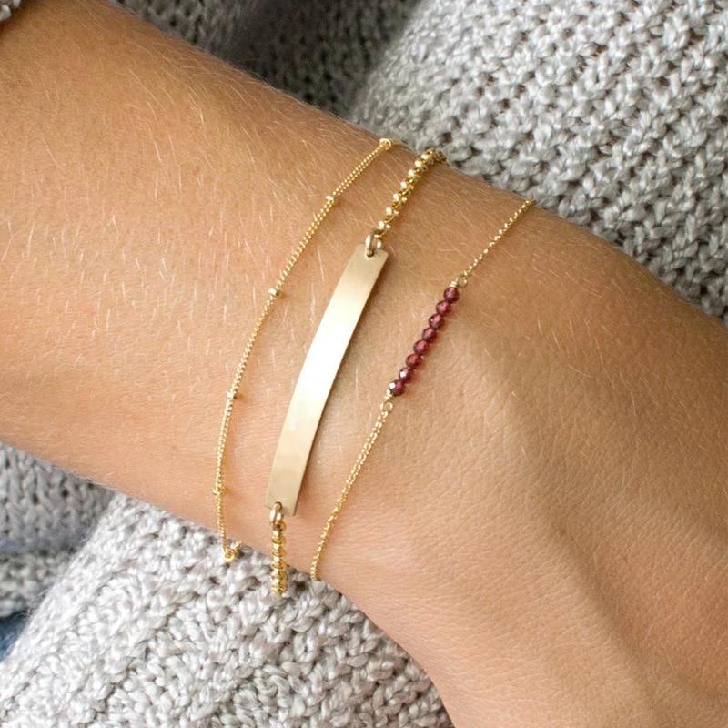 280c13e6ca9 2018 Dainty Beaded Bracelet Casual Minimal Bracelet Bead Bar Bracelet Thin  Gold Multilayer Chain Bracelet For Women Girl Jewelry-in Charm Bracelets  from ...