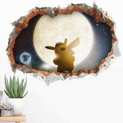3d pokemon wall stickers home decor kawaii animal kids wall decals adhesive fake window cartoon baby wall stikers