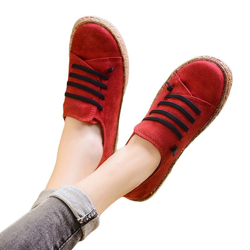 Модные женские туфли Весна-осень женские туфли на плоской подошве кожаные Туфли без каблуков Кружево на шнуровке Лоферы Повседневное круглый носок мокасин tenis feminino