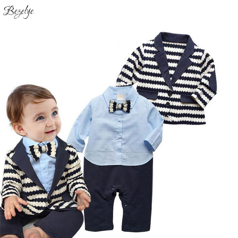 3 PCS Striped Boys Rompers Spring Children Autumn Jumpsuits Winter Cotton Newborn Baby Clothes Gentleman Tie Romper+Coat Boysuit new 2016 autumn winter kids jumpsuits newborn baby clothes infant hooded cotton rompers baby boys striped monkey coveralls