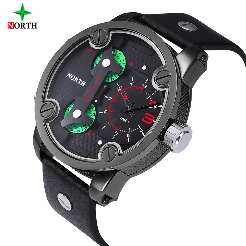 Men Luxury Leather Watch Brand NORTH Fashion Quartz Wristwatch Clock Water proof Top quality of ali male relogio masculino watch new 2017 men watches luxury top brand skmei fashion men big dial leather quartz watch male clock wristwatch relogio masculino
