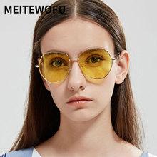 MEITEWOFU Gold frame Pilot women sunglasses men vintage fash