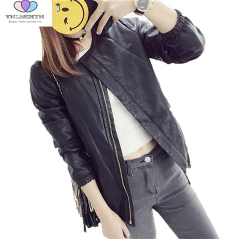 2019 Autumn And Winter New Women   Leather   Coat Short PU   Leather   Jackets Full Sleeve Zippers Outerwear Coat TNLNZHYN A59