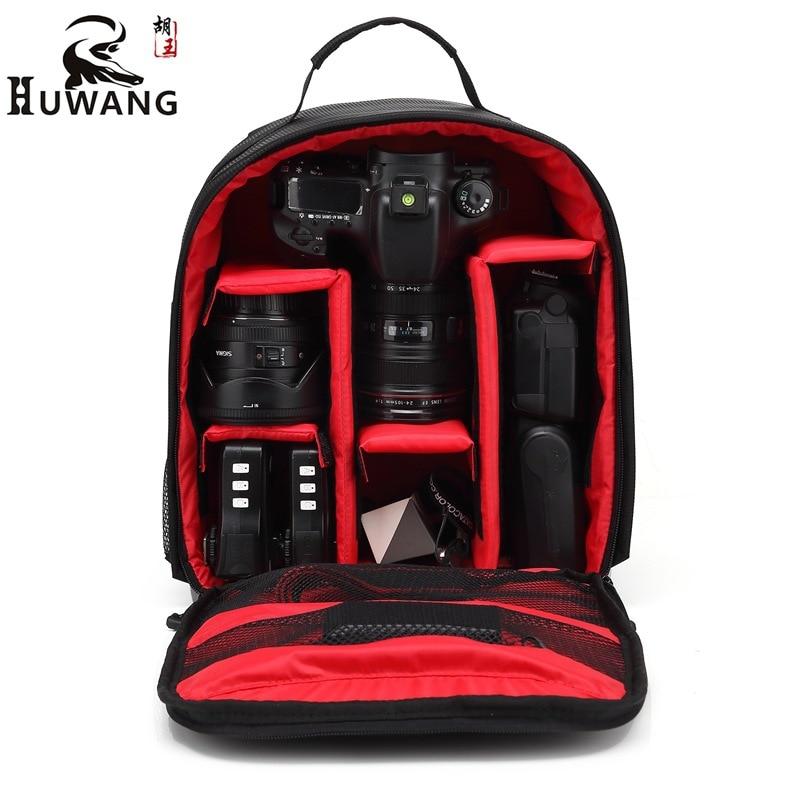 Huwang Video Photo Digital Camera Shoulders Padded Backpack Bag Case Waterproof Shockproof Small Bags for Canon Nikon DSLR