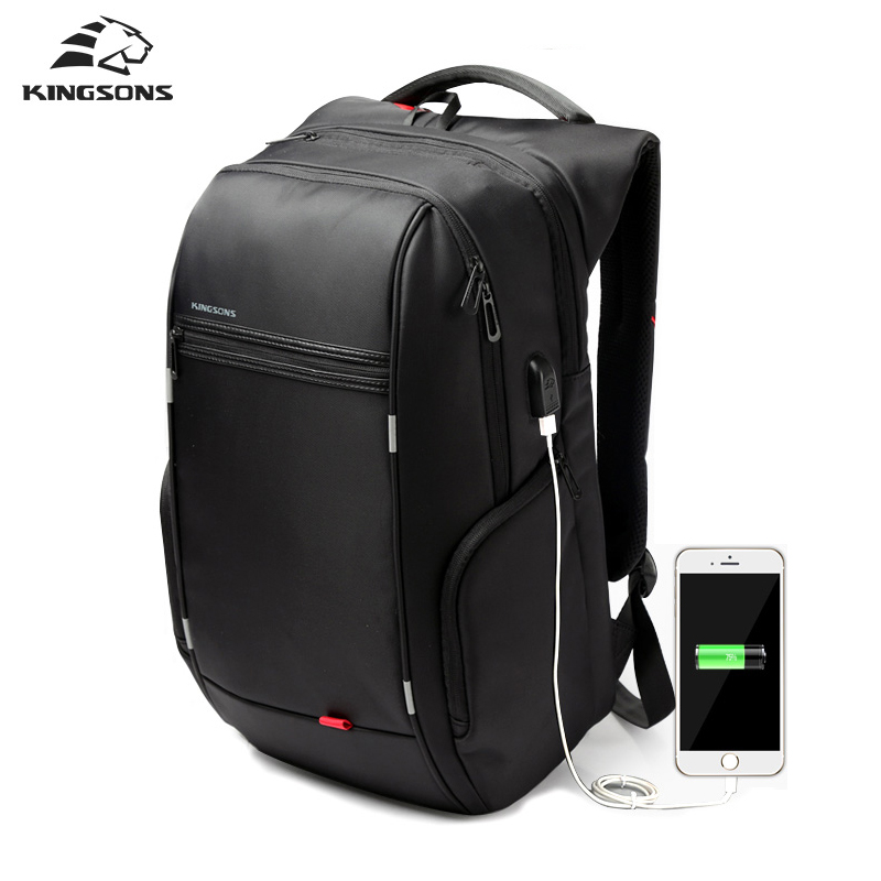 Kingsons Противоугонный рюкзак мужской USB зарядки ноутбука рюкзаки для девочек рюкзаки школа Mochila antirrobo