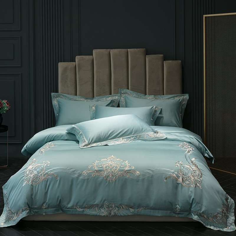 Top Quality 100 Cotton Sateen duvet cover set Percale bed linen 4 pieces luxury embroidery sheets