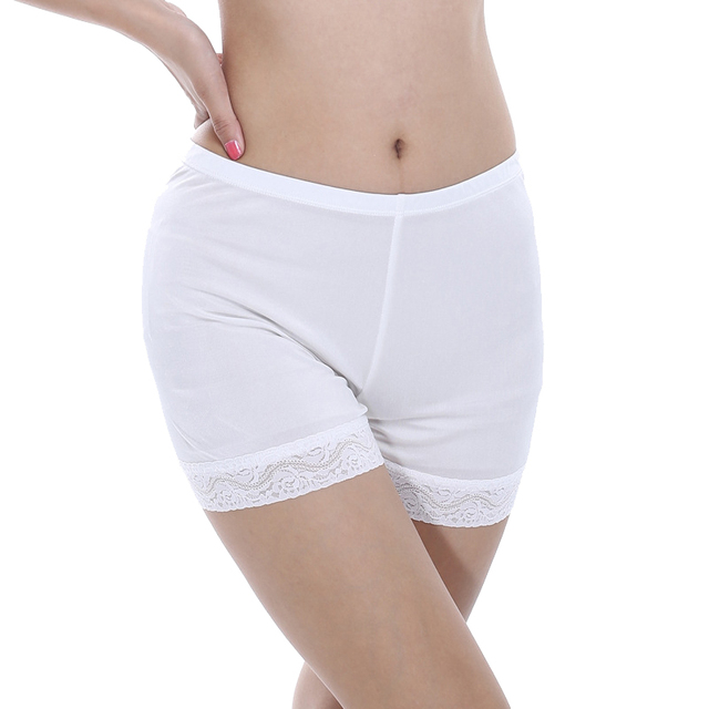 100% Silk Women's Safety Short Pants Women Panties Femme White Black Boxer Shorts Ladies Sexy Lace Knickers Female Underpants