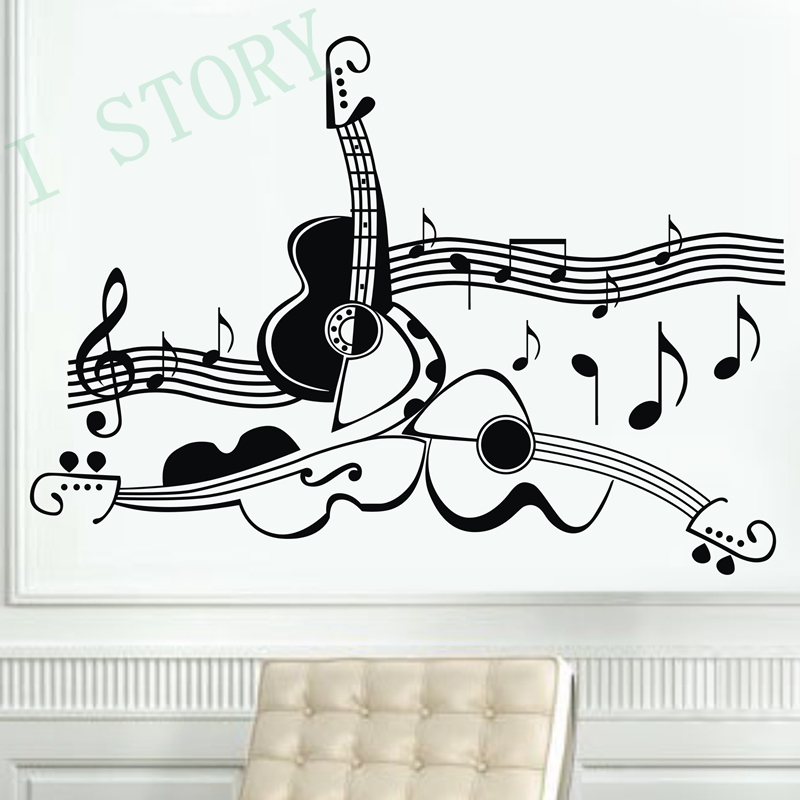 Diseño Original de la guitarra instrumento musical vinilo etiquetas de la pared,