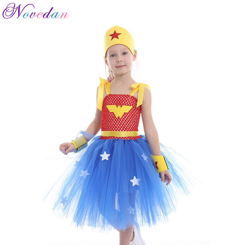 Wonder Woman Costume Girl Superman Halloween Fancy Dress Children Party Cosplay Costumes Superhero Costumes For Girls Kids