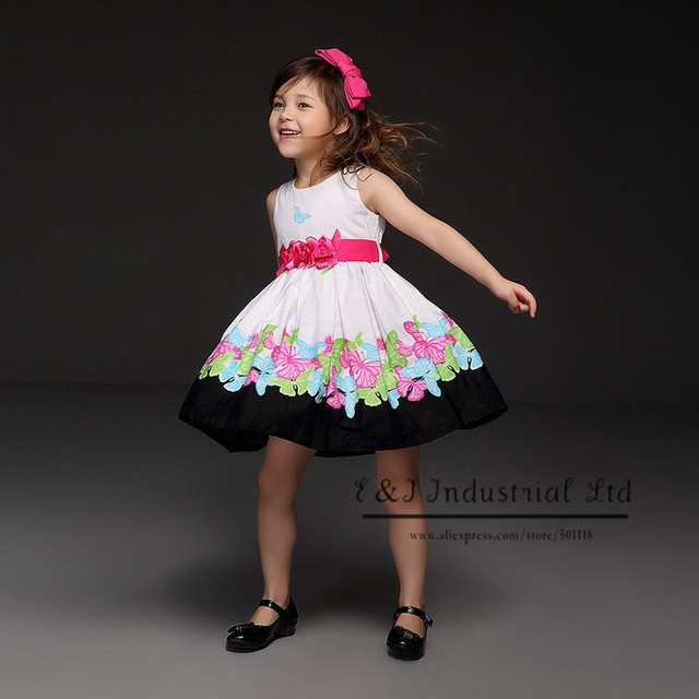 Printed Elegant Dresses For Girls Printed Girl Flower Party Dress Brand Kids Clothes (6Pcs /Lot) GD21008-46B^^EI