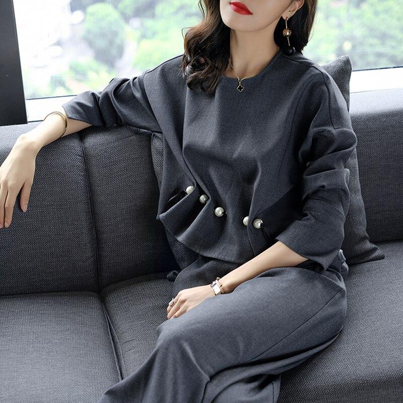חדש 2018 אביב סתיו אופנה נשים של עסקי מכנסיים חליפות כפתור פנינה ראפלס חליפות לנשים 2 pieces סט גדול גודל S-XL