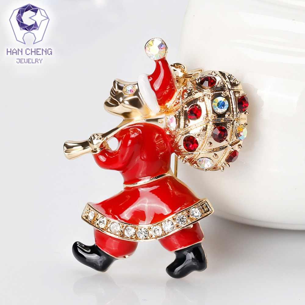 Han Cheng Fashion Call From Santa Claus Golden Glaze Berlian Imitasi Kristal Bros Pin dan Bros untuk Wanita Perhiasan Hadiah Natal