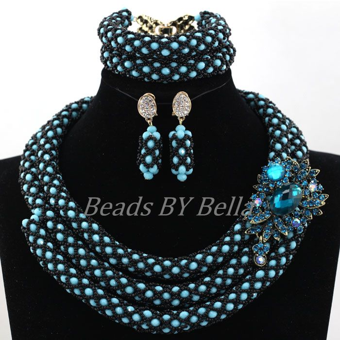 Graceful Nigerian Design New Blue Beads Jewelry Indian Bridal Necklace African Wedding Costume Jewellry Set Free Shipping ABL038