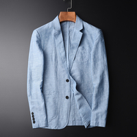 MINGLU New Arrival Blazer Man New Linen Suit Jacket Autumn Casual Mianma Male Single Breasted High Quality Size M L XL 2XL 4XL