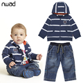 2017 Winter Autumn Baby Boy Clothing Suit Striped Clothes Set For Toddler Boys Hooded Coat + Denim Trousers Infant Oufits FF198