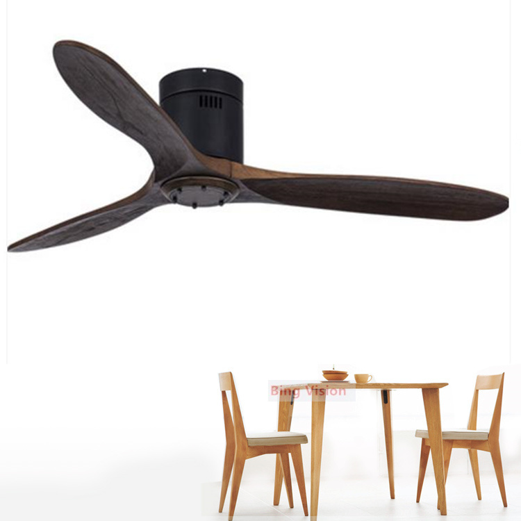 Modern Solid Wood Ceiling Fan Light With Remote Control LED Dimming Living Room Bedroom Dining Room Loft Without Lamp Fan
