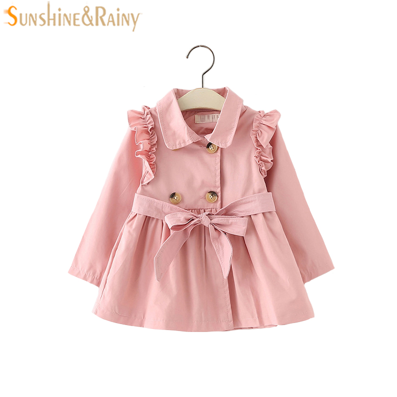 1-4T Baby Girls Jackets 2018 Spring Autumn Solid Cotton Coat Windbreaker For Girls Outerwear Jacket Toddler Kids Casual Coat