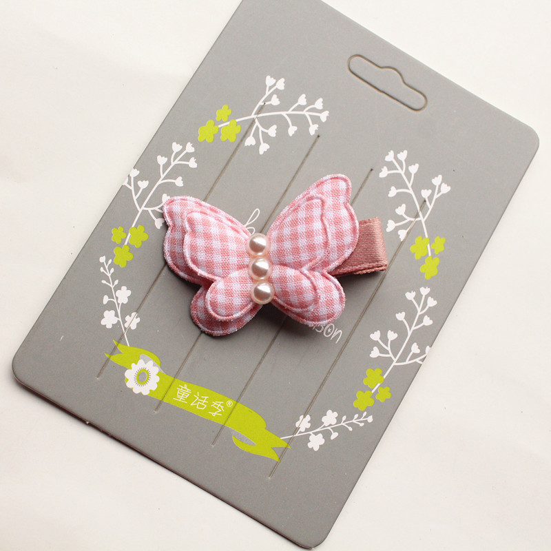 5pcs lot Plaid Butterfly Kids Hair Clip with 3 Pearls Modish Girls Double Layers Girl Hairpin Cute Hair Grip Summer Stlye Cute in Hair Accessories from Mother Kids