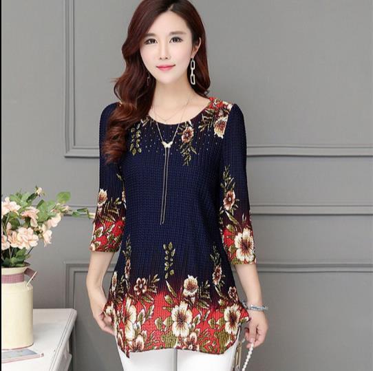 fa6f49a93 Aliexpress.com  Compre Primavera 2017 Mulheres camisa blusa Moda Feminina  camisa Plus Size roupas Diamante Impresso Blusas Femininas Magro 4XL  Sociais E227 ...