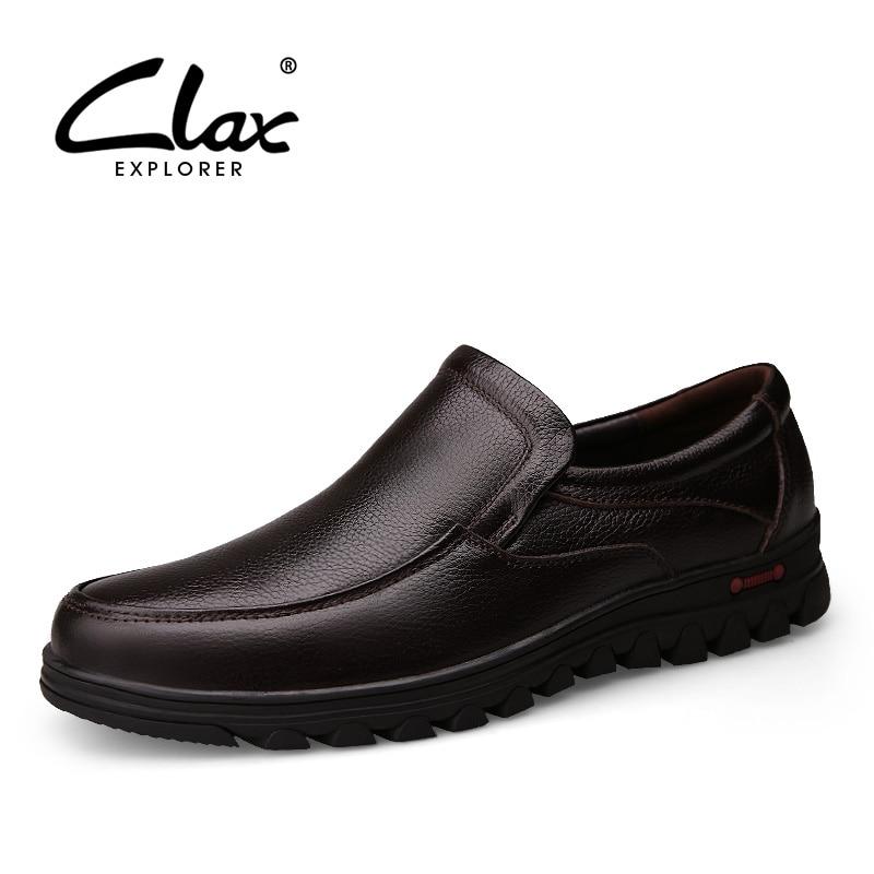 CLAX hommes noir robe chaussure en cuir véritable automne chaussures formelles mâle Social chaussure hiver mariage en peluche fourrure chaude chaussure rétro doux-in Chaussures d'affaires from Chaussures    1