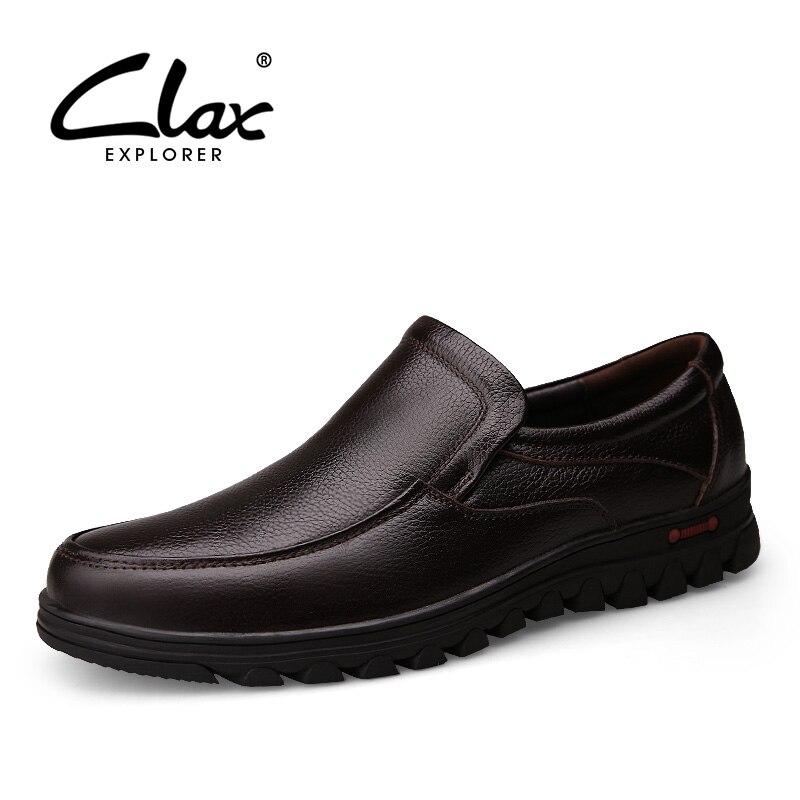 Clax 남자 블랙 드레스 구두 정품 가죽 가을 공식적인 신발 남성 사회 신발 겨울 웨딩 플러시 모피 따뜻한 구두 레트로 소프트-에서포멀 슈즈부터 신발 의  그룹 1