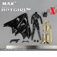 1/6 Escala Versão Máscara X011 BatGirl Macacão De Couro Preto Para 12 Polegadas Figuras de Ação Do Sexo Feminino Órgãos Acessórios