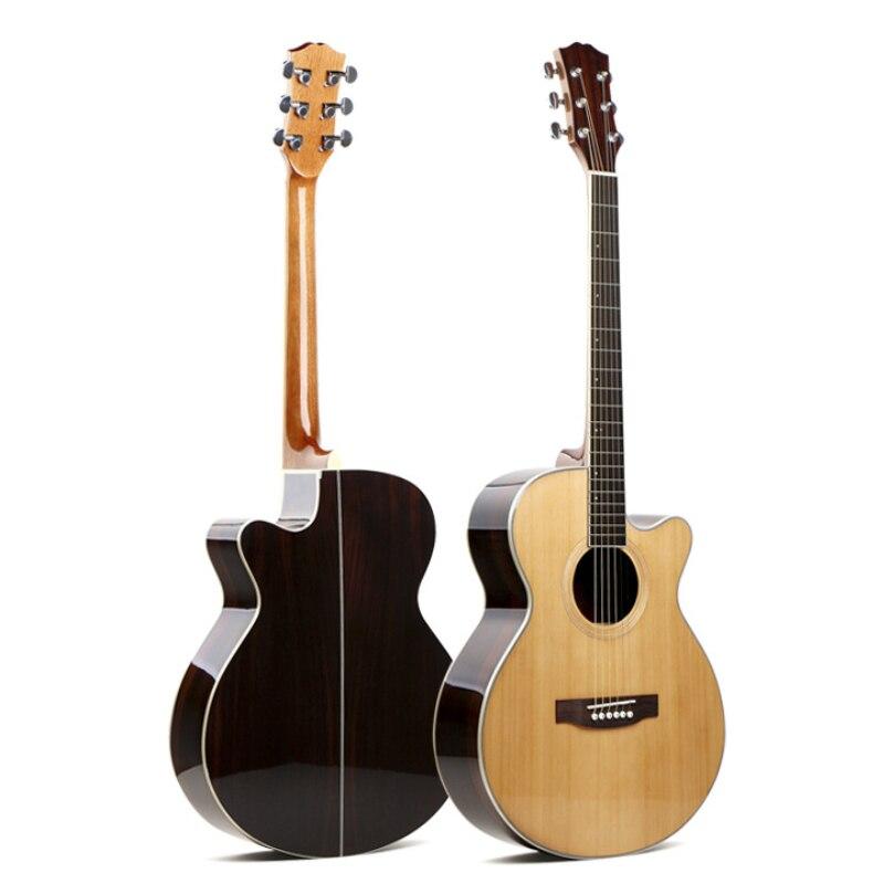 Guitare en contreplaqué fait main en palissandre de pin rouge 40, guitare acoustique à cordes d'acier en bois de 41 pouces