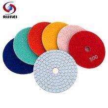 RIJILEI 10PCS/Set 80mm Diamond Polishing Pads 3inch White Wet polishing pad for Marble Abrasive Tools Wholesale HF01
