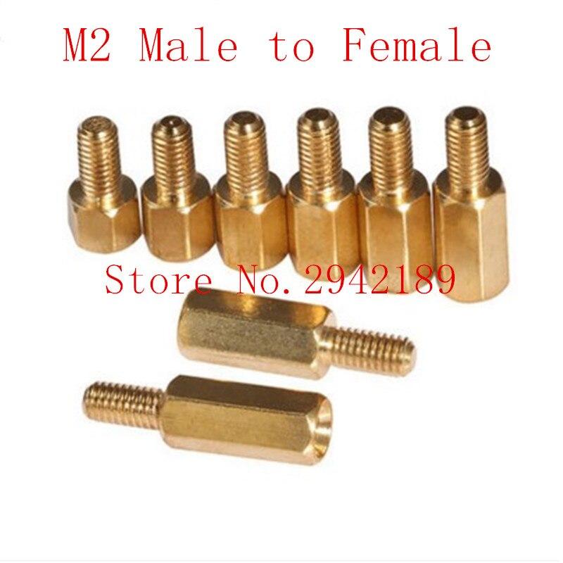 100 шт./лот m2 * l + 3 m2 латунь противостояние Spacer мужской женский интервал Шурупы hex латунь каскадный Spacer длина 3 мм до 30 мм