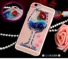 Роскошные девушка женщина леди вина Стекло красные губы зыбучие пески телефон чехол для Samsung Galaxy S4 S5 S6 S7 края Примечание 3 4 5 A5 A9 J5 J7 C5 C7