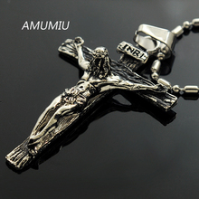 INRI Jesus piece Trendy Punk Vintage Cross Gift Hip Hop Rock Mens 316L Stainless Steel Necklaces Pendants High Quality KP320