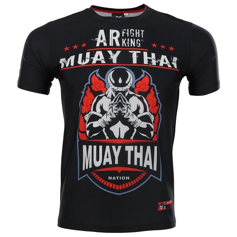 ROLLHO MMA Rashguard Muay Thai T Shirt Shorts Suit Printed Elastic Compression BJJ MMA Short Boxing Jersey Fitness Gym Training