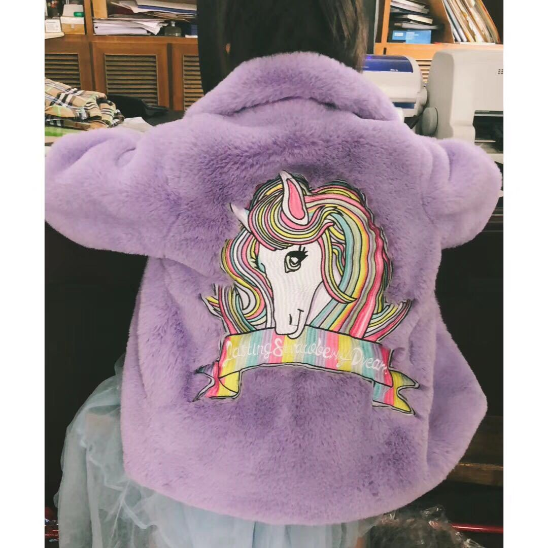2019 Mommy And Me  Winter Outfit Coat / Faux Fur Coat / Unicorn Fur Coat  / 8 Colors Available Lasting Strawberry Dream