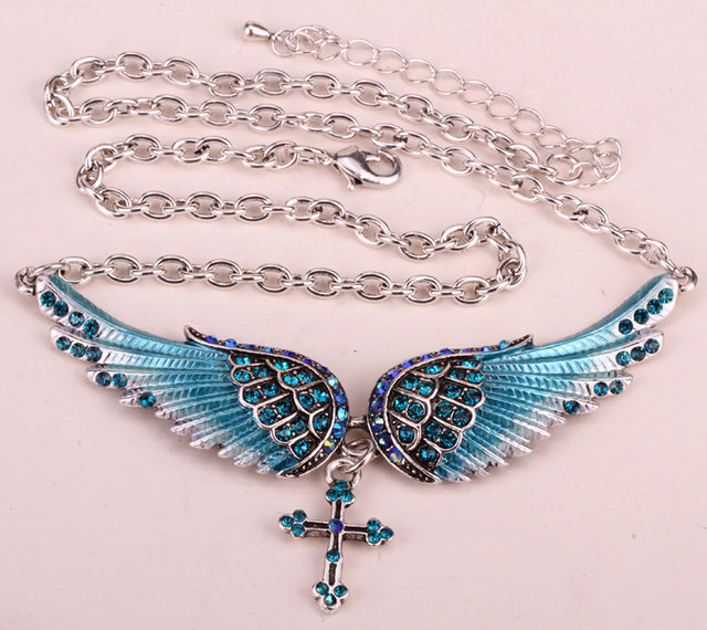 Online Shop Yacq Angel Wing Cross Choker Necklace Guardian Women