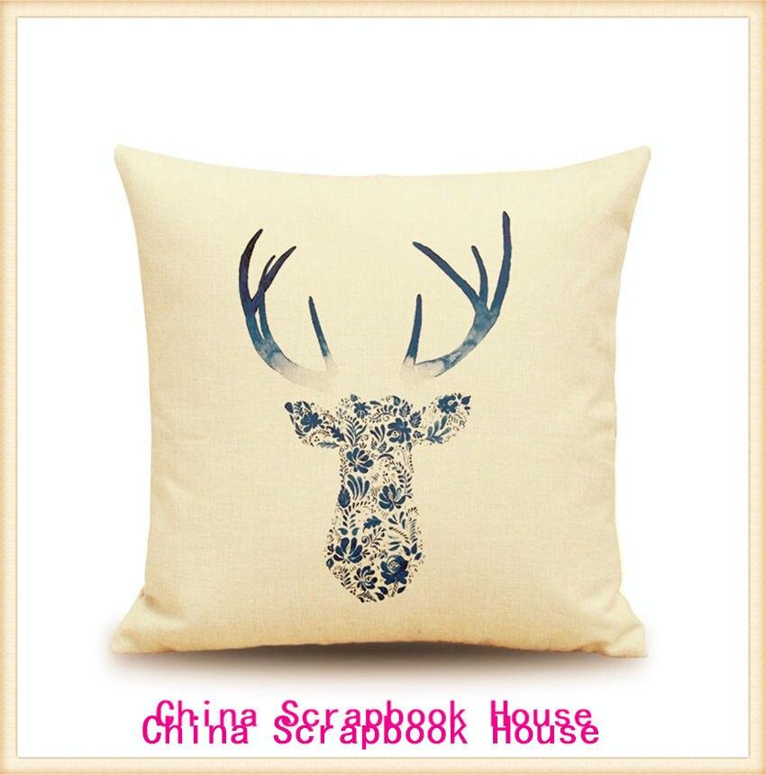 ヾ(^▽^)ノPanfelou 45*45 cm cómodo Deer Head tinta azul y estilo ...