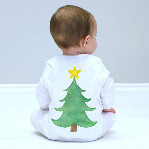 Newborn Baby Girls Boys Christmas Tree Long Sleeve   Romper   Jumpsuits Outfits Clothes