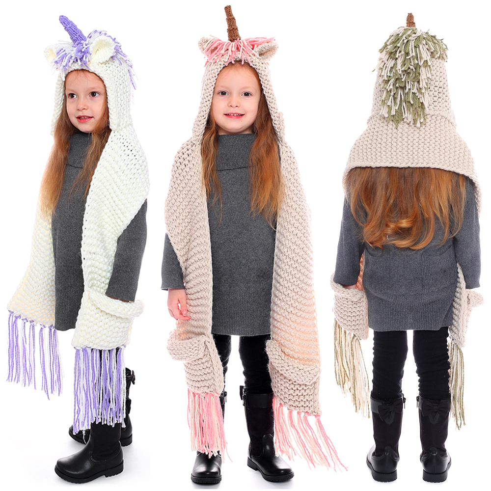 Cute Girls Crochet Cartoon Unicorn Tassel Winter Hat with Scarf Hooded Knitting