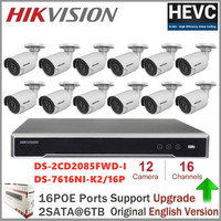 Hikvision 4K POE NVR KIT 16 Channel 12PCS HD 8MP PoE Dome IP Camera H.265 with Audio Function P2P NVR KIT CCTV Camera System