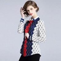 European Style 2019 New Full Sleeve Casual Vogue Chiffon Print Shirt Spring Summer Slim Temperament Blouse Women Wear Tops NO919