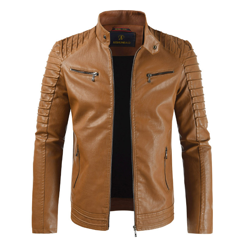 Jacket Motorcycle Casual Fashion Stand Zipper Autumn-Stand-Collar Men New-Arrival