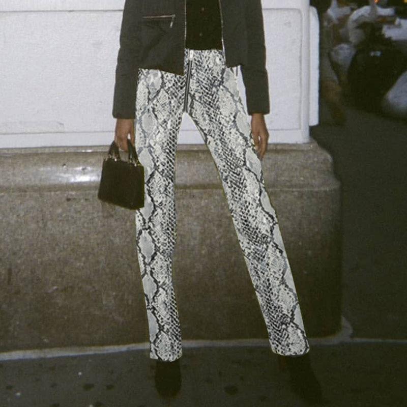 Fashion high waist snake print women   pants     capris   Snakeskin casual zipper ladies trousers Party club PU   pants   2019
