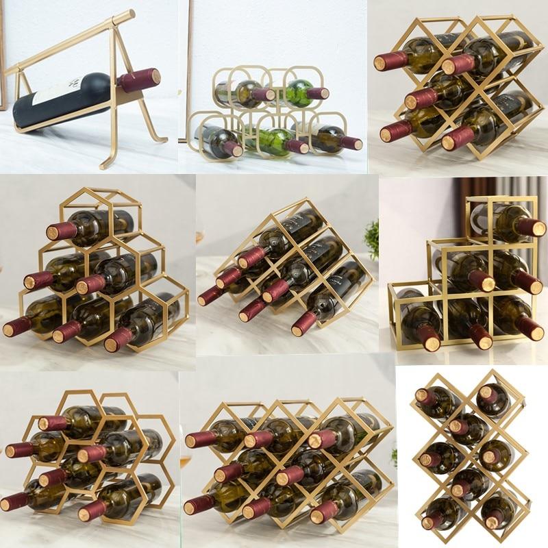 Simple Diamond Wine Rack Display Lattice Wine Cabinet Metal Lattice Customized