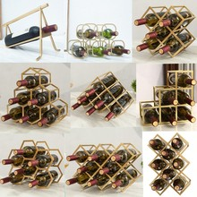 Simple Diamond Wine Rack Display Lattice Wine Cabinet Metal Lattice Customized
