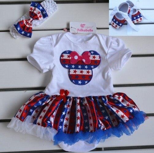 Лето новорожденный одежда комплект девочки-младенцы минни мышь боди комплект платье + повязка на голову + малыш обувь 3шт