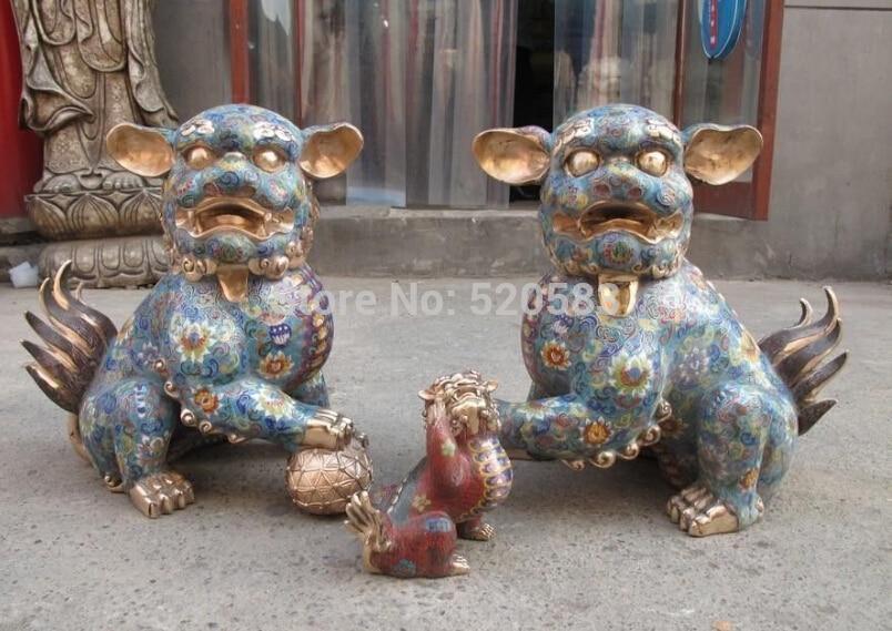 Free China Royal Pure Bronze Cloisonne Exorcise Evil Spirits Palace Foo Dog Lion Pair Fast