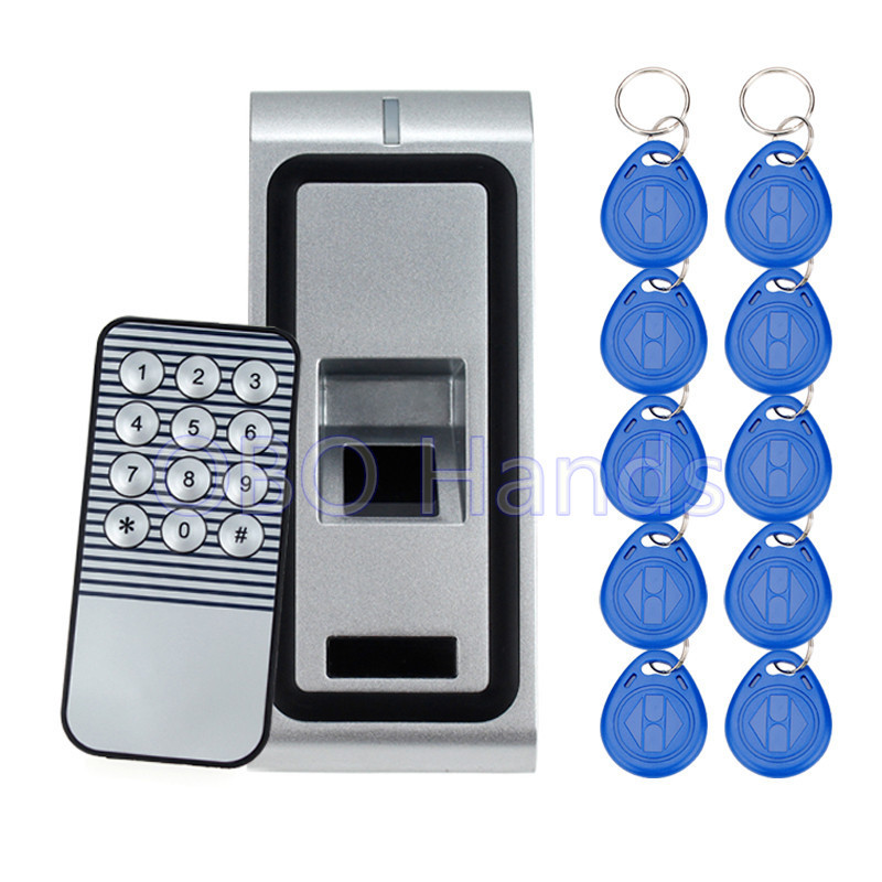 Standalone Metal Case Door lock Biometric Fingerprint Access Control System RFID 125KHZ WG26 output Reader with 10 keys 500users ac x7 biometric standalone access control reader fingerprint control rfid access control fingerprint access control system